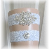 Something Blue Wedding Garter Set, Bridal Garter Set, Crystal Rhinestone with Blue Lace Wedding Garter Set, Garter Set