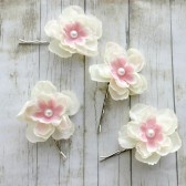 Ivory and Pink Blossoms Flower Hair Pins