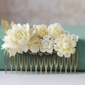 Large Ivory White Flowers Collage Hair Comb. Wedding Comb, White, Ivory, Cream Flowers Antique Brass Filigree Comb, Bridal Hair Comb