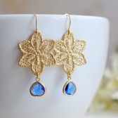 Matte Gold Plated Metal Lace Earrings. Gold Metal Lace Filigree Cobalt Blue Glass Drop Earrings. Bridal Earrings, Bridesmaid Gift