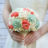 Pastel Seafoam Mint & Coral Keepsake Bouquet
