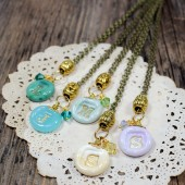 5 personalized bridesmaids initial pendant necklaces in Aqua, Mint, Ivory, Emerald, Lilac