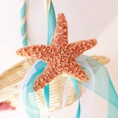 Beach Wedding Flower Basket with Sugar Starfish