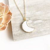 White Crescent Poon Necklace in Gold