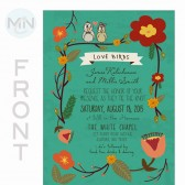 Vintage Love Birds Illustrated Wedding Invitation