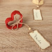 Heart name card holders with twine tags