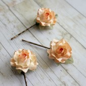 Peach Rose Flower Hair Pins
