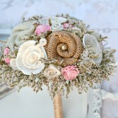 Small Bride\'s or Full Bridesmaids Pink Rustic Bouquet