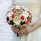 Coral Orange & Navy Brides Bouquet