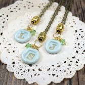 Mint and Gold bridesmaids initial necklaces - set of 3