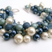 Denim Blue and Ivory, Cluster Pearl Bracelet, Bridal Jewelry, Wedding, Pearl Bridesmaid Bracelet, Pearl Bracelet, Pearl Jewelry by Kim Smith