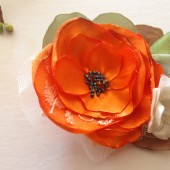 Orange Poppy Flower Bouquet Hair clip Handmade Weddings Hair comb