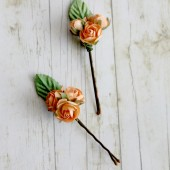 Tangerine Rose Trio Flower Hair Pins