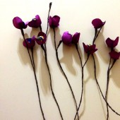 Purple Fabric Flowers with stems Handmade weddings decoration Home decor Filler flowers bouquet
