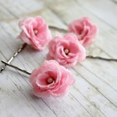 True Pink Flower Hair Pins