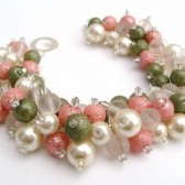 Pink and Green, Blossom, Cluster Pearl Bracelet, Bridal Jewelry, Wedding, Pearl Bridesmaid Bracelet, Pearl Bracelet, Pearl Jewelry Kim Smith
