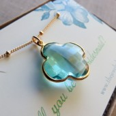aquamarine clover necklace