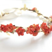 Orange Floral Crown Wedding