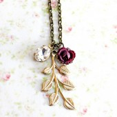 Sparkly Leaves and Plum Flower Necklace.