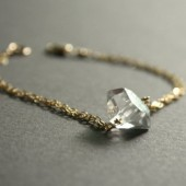 Gold Diamond Bracelet Herkimer Diamond