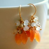 Peach Chalcedony and White Moonstone Cluster Earrings