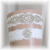 Couture Wedding Garter Set, Wedding Garter, Bridal Garter Set, Crystal with Light Ivory Lace