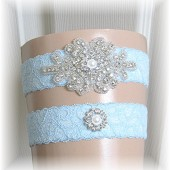 Something Blue Wedding Garter Set, Bridal Garter, Garter Set, Crystal Rhinestone and Pearl Garter Set