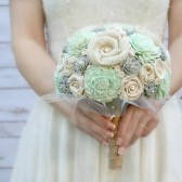 Mint & Soft Grey Sola Flower and Fabric Bouquet