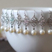Bridal Pearl Earrings. Set of Five 5, Five Pairs Swarovski Cream Ivory Pearl Silver Flower Earrings. Wedding Earrings. Bridesmaids Earrings