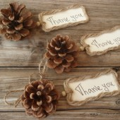 Natural pine cone with Thank you tag