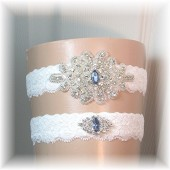 Wedding Garter, Rhinestone Bridal Garter Set Light Ivory Lace with Sapphire Blue Accent Crystals