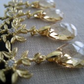 Champagne gold crystal earrings
