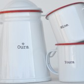 Yours. Mine... Ours. Enamelware Mugs & Percolator