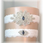 Wedding Garter Light Ivory Lace with Navy Blue Rhinestone Accents