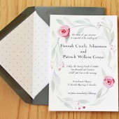 Wedding Invitation with Hand-painted wreath of leaves and flowers