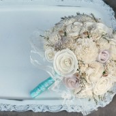 Cream Sola Wood & Paper Roses Lasting Brides Bouquet