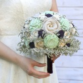 Mint Green & Purple Sola Flower Bride\'s Bouquet