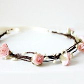 Pink Rose Bridal Floral Crown