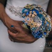 Blue and Gold Brooch Bouquet