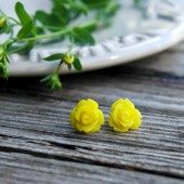 Lemon Yellow Rose . Post Earrings