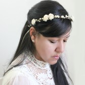 White Creamy Floral Crown