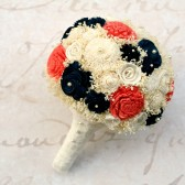 Navy, Coral, and Lace Bouquet