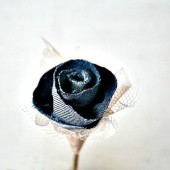 Lace and Denim Flower Wedding Boutonniere