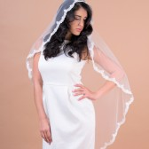 Mantilla I veil - one layer veil with scallop shaped lace