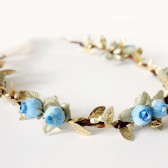 Blue and Gold Floral Crown