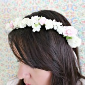 Ivory and Pink Floral Crown