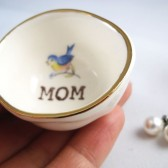 Mom jewelry dish with blue bird & gold luster rim