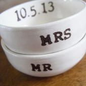 Mr and Mrs custom date ring dishes