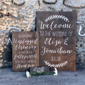 Custom Wood Wedding Signs, Hand Painted Signs, Woodsy Wedding, Rustic Wedding, Welcome Sign, Unplugged Ceremony Sign