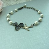 Orchid and Bird Vintage Style Bracelet. Bridesmaid Gift